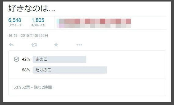 Twitterが投票機能を実装 「きのこ vs.