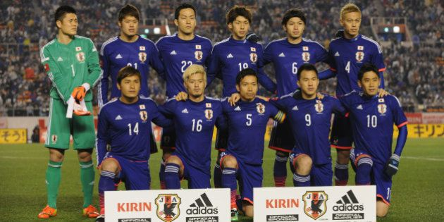 TOKYO, JAPAN - MARCH 05: (EDITORIAL USE ONLY) Japan line up for team photos prior to the Kirin Challenge...