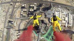 世界一高いビルからのベースジャンプで828メートルの世界記録を樹立【動画】