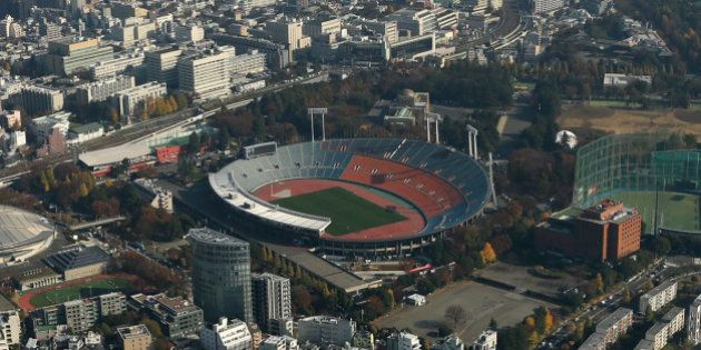 The National Olympic Stadium, center, stands in this aerial photograph taken in Tokyo, Japan, on Monday,...