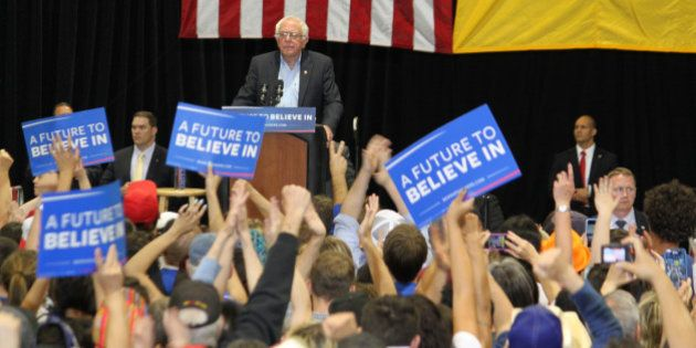 Democratic presidential candidate Bernie Sanders pauses during his speech as the crowd cheers during...