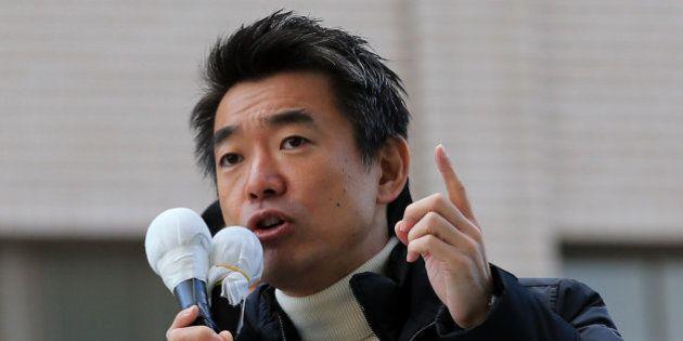 OSAKA, JAPAN - DECEMBER 02: Japan Restoration Party leader Osaka Mayor Toru Hashimoto speaks to voters...