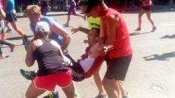 ボストンマラソン:ゴール前で倒れた男性を仲間のランナーが抱き上げゴール【画像】