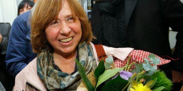 Belarusian journalist and writer Svetlana Alexievich who has been named the 2015 Nobel literature winner,...
