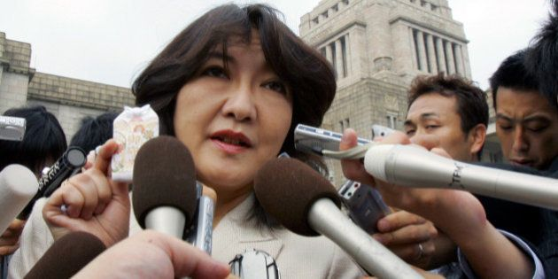 Satsuki Katayama, a newly elected House of Representatives member, speaks to reporters at the Parliament...