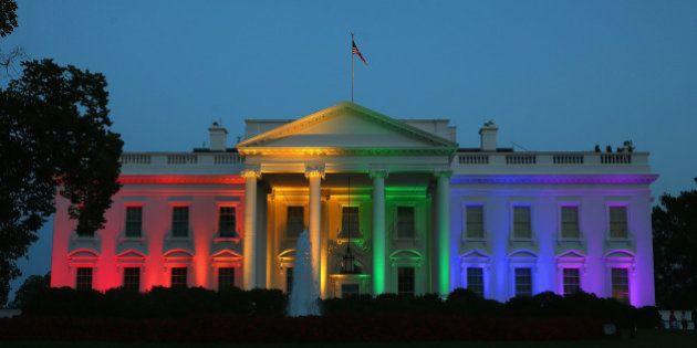 WASHINGTON, DC - JUNE 26: Rainbow colored lights shine on the White House to celebrate todays US Supreme...