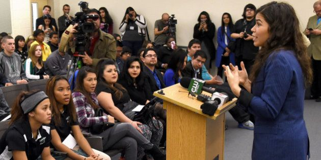 NORTH LAS VEGAS, NV - FEBRUARY 11: Actress America Ferrera talks to students at Rancho High School as...
