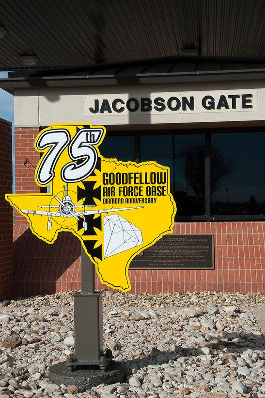 An Anniversary sign stands outside the Jacobson Gate on Goodfellow Air Force Base, Texas in 2016.