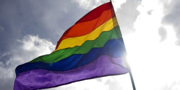 A reveller waves a rainbow flag during the Gay Pride Parade in Medellin, Antioquia department, Colombia...
