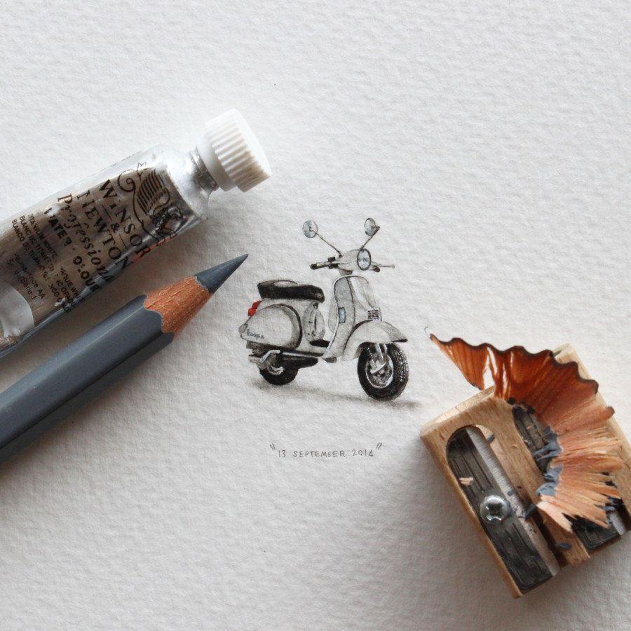 超ミニサイズの絵ハガキは「蟻サイズ」 南アフリカのアーティストが毎日欠かさず発表する作品が人気