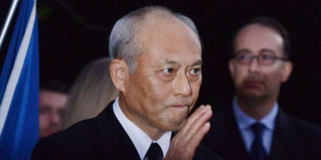TOKYO, JAPAN - NOVEMBER 15: Governor of Tokyo, Yoichi Masuzoe reacts after his speach at the French embassy...