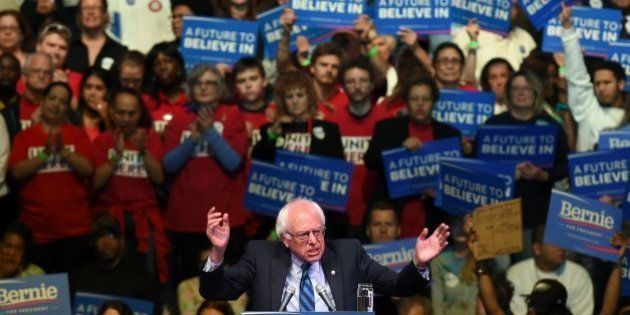 US Democratic presidential candidate Bernie Sanders speaks during a rally in Atlantic City, New Jersey,...