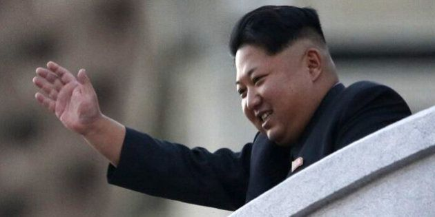 PYONGYANG, NORTH KOREA - OCTOBER 10: (CHINA OUT) North Korea's leader Kim Jong-Un waves from a balcony...
