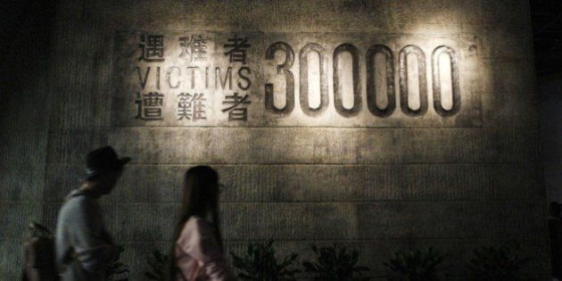 People visit the Nanjing Massacre Memorial Hall in Nanjing on October 10, 2015. Japan on October 10 lashed...