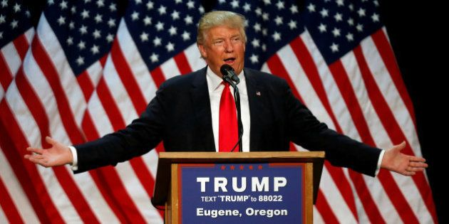 Republican U.S. presidential candidate Donald Trump speaks at a campaign rally in Eugene, Oregon, U.S.,...