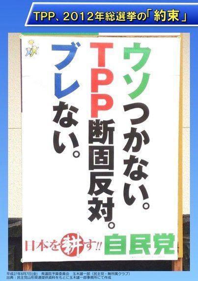 自民党ポスター「ウソつかない。TPP断固反対。ブレない。」の結果