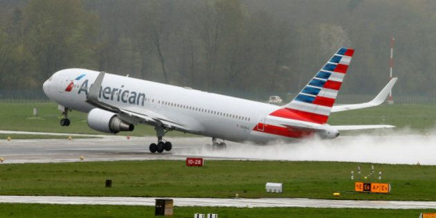 A Boeing 767-323(ER) airplane of American Airlines takes-off from Zurich airport, Switzerland, April...