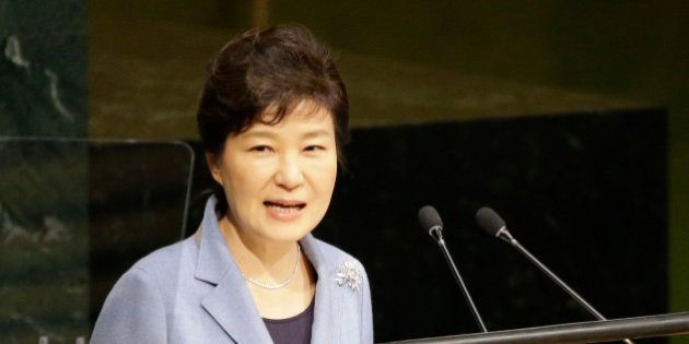 Korean President Park Geun-hye addresses the 70th session of the United Nations General Assembly at U.N....