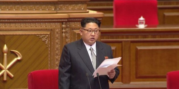 North Korean leader Kim Jong Un addresses the congress in Pyongyang, North Korea, Friday May 6, 2016....