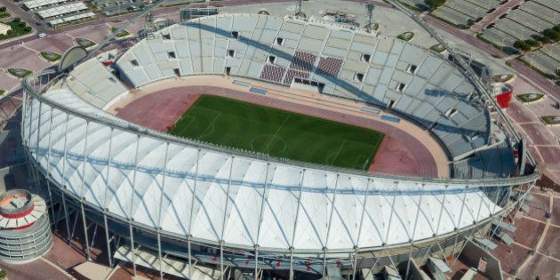 DOHA, QATAR - JANUARY 06: View of the Khalifa football stadium is taken at the ASPIRE Academy for Sports...