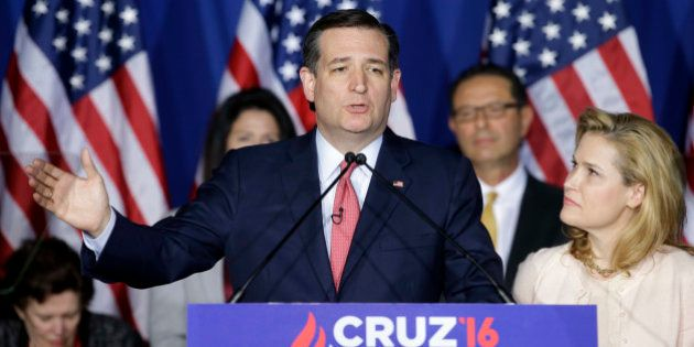 Republican presidential candidate, Sen. Ted Cruz, R-Texas, speaks as his wife, Heidi, listens during...