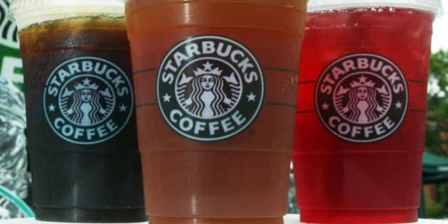 WASHINGTON - JULY 2: Starbucks' new iced coffee and tea beverages are displayed during a promotion July...
