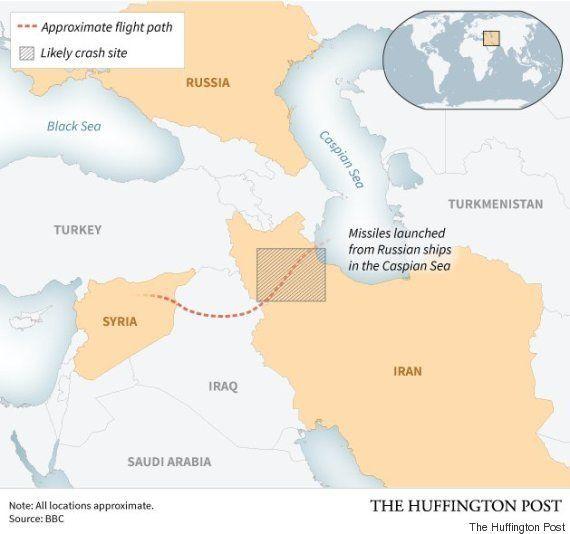 ロシア軍がシリアに向けた巡航ミサイルがイランに着弾か