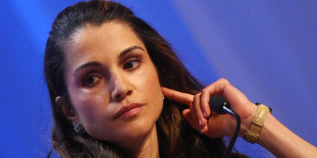 Queen Rania of Jordan listens during the session 'Corporate Global Citizenship in the 21st Century' at...