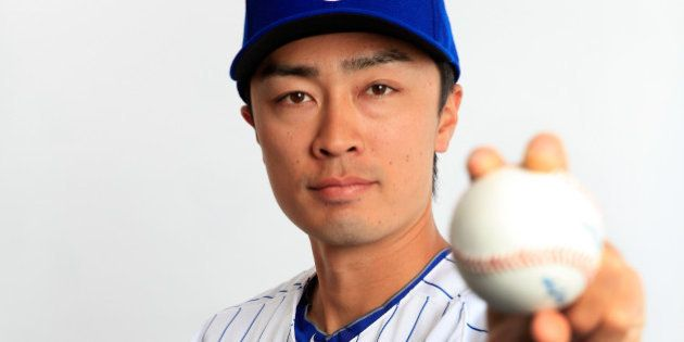 TEMPE, AZ - FEBRUARY 24: Pitcher Tsuyoshi Wada #67 poses during Chicago Cubs photo day on February 24,...