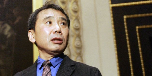Novelist Haruki Murakami of Japan gestures during the ceremony for the Franz Kafka International Literary...