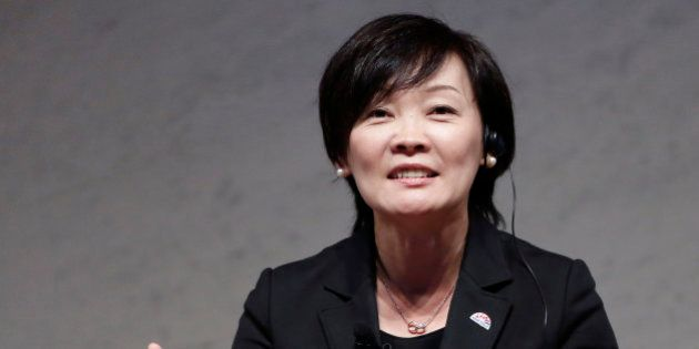 Akie Abe, wife of Japan's Prime Minister Shinzo Abe, speaks during a special talk session with Cherie...
