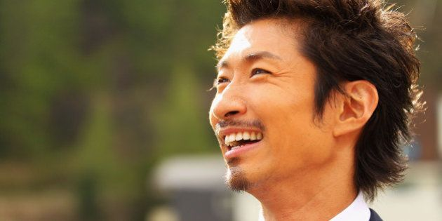 SAAS-FEE, SWITZERLAND - JUNE 02: Makidai of the all-male Japanese pop band and dance group Exile laughs...