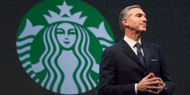 Starbucks Chief Executive Howard Schultz speaks during the company's annual shareholder's meeting in...