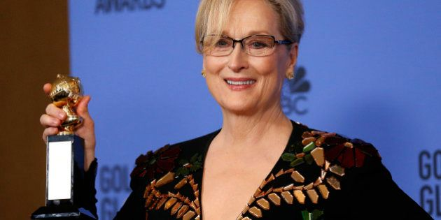 Meryl Streep holds the Cecil B. DeMille Award during the 74th Annual Golden Globe Awards in Beverly Hills,...