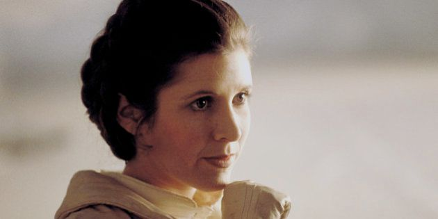 American actress Carrie Fisher on the set of Star Wars: Episode V - The Empire Strikes Back directed...