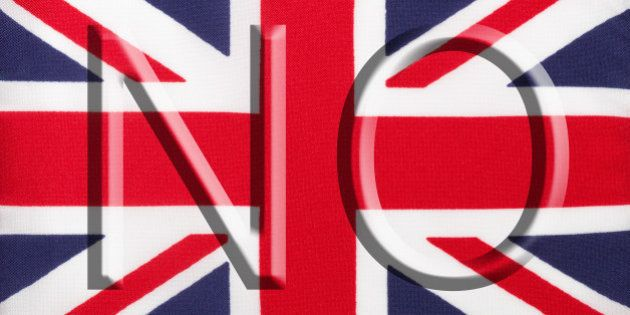The word 'No' over the Union Jack, the national flag of the United Kingdom, encourages voters to vote...