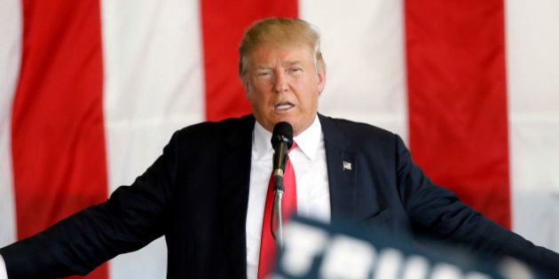 Republican presidential candidate Donald Trump speaks during a rally, Friday, May 6, 2016, in Omaha,...
