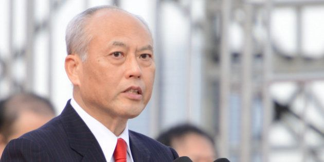 TOKYO, JAPAN - JANUARY 06: Governor of Tokyo, Yoichi Masuzoe speaks during the New Year's fire drill...