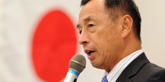 Toshio Tamogami, former air defence forces chief of staff, delivers a speech announcing his candidacy...