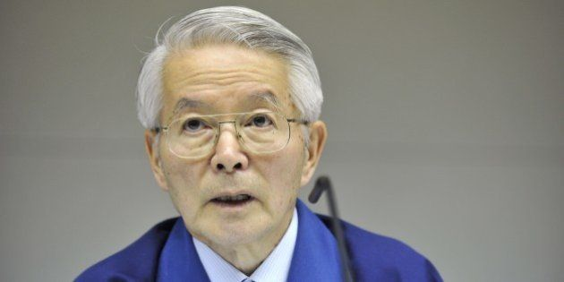 Tokyo Electric Power Co. chairman Tsunehisa Katsumata speaks during a press conferecne at the company's...