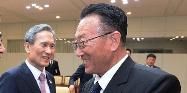 In this photo provided by the South Korean Unification Ministry, South Korean Unification Minister Hong...