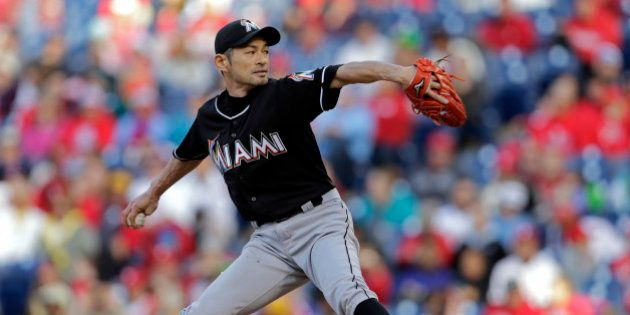 PHILADELPHIA, PA - OCTOBER 4: Ichiro Suzuki #51 of the Miami Marlins delivers a pitch during the eighth...