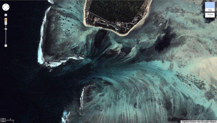 海に滝?モーリシャスの幻想的な風景【画像】