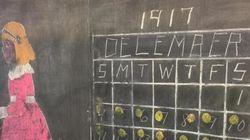 1917年の授業が今、目の前に 昔の黒板がそのまま見つかる