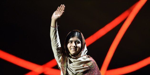 Nobel Peace Prize laureate Malala Yousafzai greets the audience at the Nobel Peace Prize Concert at the...