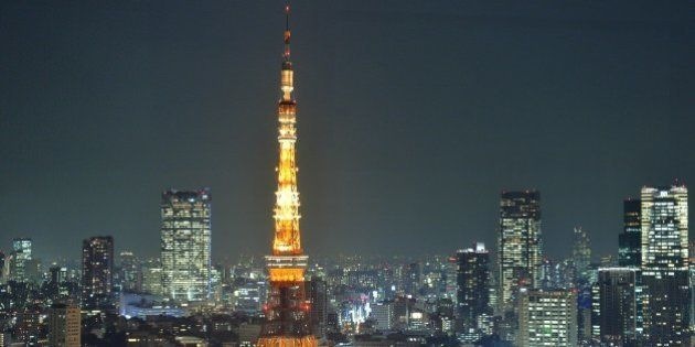 This picture taken on December 3, 2013 shows Tokyo Tower illuminated at night in Tokyo. The 333-metre-high...
