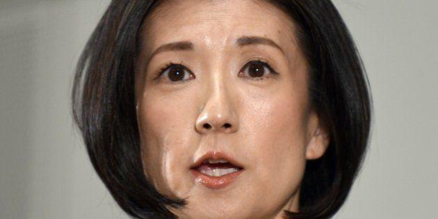 President of Japan's Otsuka Kagu furniture chain Kumiko Otsuka gestures as she answers questions during...