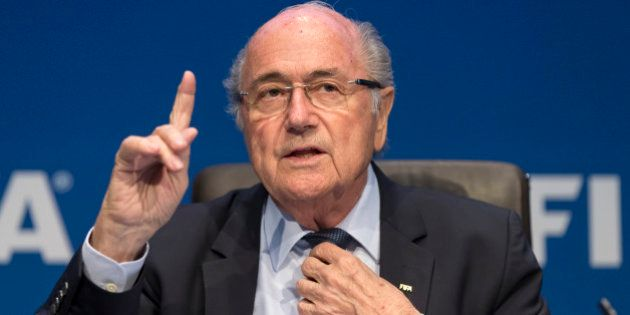 ZURICH, SWITZERLAND - MAY 30: FIFA President Joseph S. Blatter talks to the press during the FIFA Post...