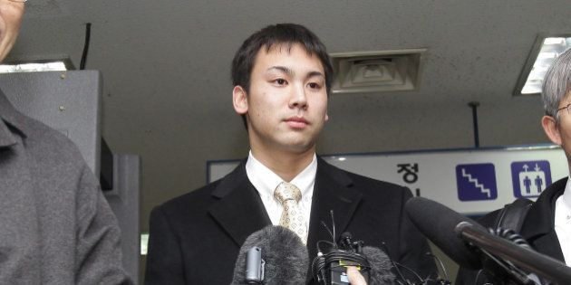 INCHEON, SOUTH KOREA - FEBRUARY 02: Japanese swimmer Naoya Tomita speaks to media after trial at the...