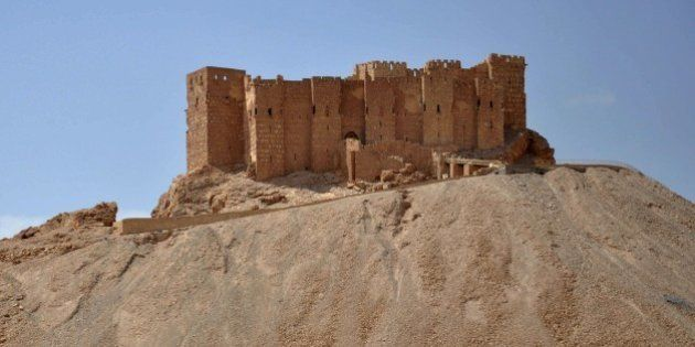 A general view taken on May 18, 2015 shows the castle of the ancient Syrian city of Palmyra, a day after...